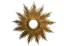 French Convex Gilded Sunburst Mirror