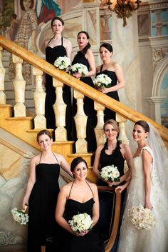 Bridesmaids wore Amsale gowns to this black tie celebration ~ Photography by 4eyesPhotography.com, Floral Design by bellefleurny.com