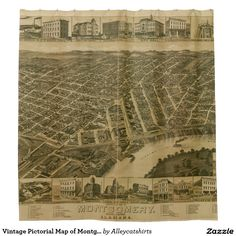 Vintage Pictorial Map of Montgomery Alabama (1887) Shower Curtain