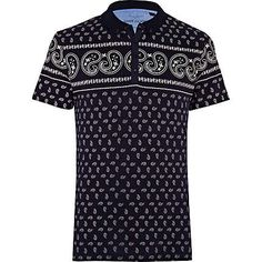 navy bandana print polo shirt - polo shirts - t-shirts / vests - men - River Island