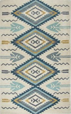 Inspired by the distinctive styling of Native American art and textiles, the Southwest Aqua Arrows Hand Tufted Wool Rug Collection by Rizzy Home sets the tone for a room that wants to reflect timeless character with modern rich style and bold color. Aqua Rug, Aqua Area Rug, Wool Area Rugs, Wool Rug, Southwest Rugs, Southwestern Style, Industrial, Textiles, Area Rug Sizes