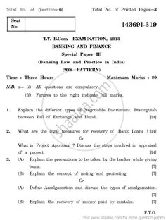 Banking and Finance-Banking Law and Practice in India 2008 Pattern - 2013 April - Commerce  TYBCom - University Exam - University of Pune - ...