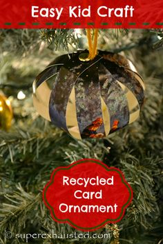 Recycled Card Ornament is a great idea for what to do with old Christmas cards. Great craft for kids to do Recycle Christmas cards Christmas Crafts For Kids To Make, Christmas Card Crafts, Old Christmas, Holidays With Kids, Easy Crafts For Kids, Fun Crafts, Christmas Bulbs, Christmas Ideas, Paper Crafts