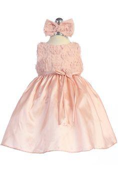 Dust Rose Rosebud accented Taffeta Baby Flower Girl Dress CB-731-DR CB-731-DR $51.95 on www.GirlsDressLine.Com