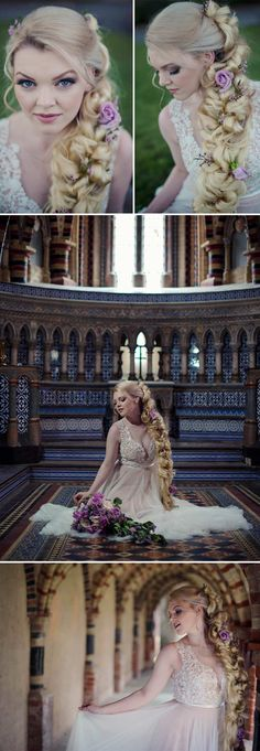 We absolutely adore this bride's gorgeously ethereal look, shot by Jennifer Sinclair Photography in a Rapunzel inspired photo shoot