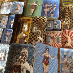 Selection of circus diorama scenes in up-cycled tins and boxes