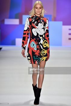 A model walks the runway at the Desigual Fall/Winter 2016 during the New York Fashion Week on February 11, 2016 in New York City.