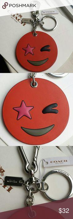 "NWT Coach Emoji Keychain Purse Charm Leather New with tag! Coach Emoji leather keychain purse charm in orange! Back says ""coach new york"". Silver hardware  Size: 2.75""×2.75"" Coach Accessories"