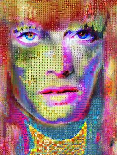 """Gamer Angie - """"The goal is freedom and the penalty is death""""Amber Valletta made out of abstracts.Dimension 80 x 60 Inches-Canvas"""
