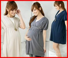 Wholesale Maternity Clothes - Buy Maternity Clothes Maternity Dresses European Style V-neck Summer&autumn Maternity Tops&dress, $24.19 | DHg...