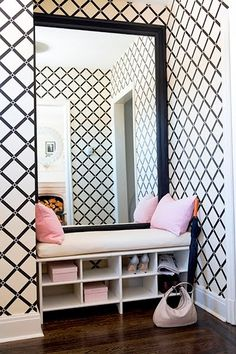 nice space to take one last look.. Wall Patterns, Entryway Bench, Stenciled Floor, Home Improvement, Stencils, Flooring, Room Decor, Interior Design, House Design