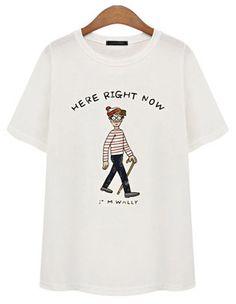 White Short Sleeve Cartoon Character Print T-Shirt - Fashion Clothing, Latest Street Fashion At Abaday.com