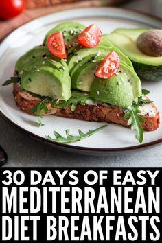 30 Day Mediterranean Diet Meal Plan for Weight Loss - Korean Diet Mediterranean Breakfast, Easy Mediterranean Diet Recipes, Healthy Diet Recipes, Healthy Breakfast Recipes, Healthy Eating, Overnight Oats, Smoothie, Diet Meal Plans, Greek Recipes