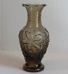 Vintage Imperial Glass Loganberry Pattern Smoke Small Vase  #Imperial
