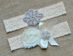 Bridal Crystal Garter Set, Wedding Garter Set Ivory Bow Ivory Shabby Chic Flower Bridal Vintage Lace Crystal Rhinestone Toss Garter Set