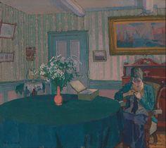 Sylvia Darning by Harold Gilman, 1917