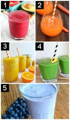 Healthy and DELICIOUS fruit, veggie, and green Smoothies. Perfect drinks for summer!