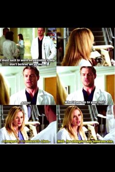 Mark and Lexie/ Mark thought Lexie was someone else because she dyed her hair blonde.....LoL