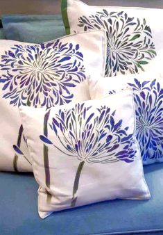 stamps, stencils, patterns and such Agapanthus Stencil African Lily Flower Stencil Top 5 New Plants Cushion Cover Designs, Cushion Covers, Stencil Painting, Fabric Painting, Stenciling, Scatter Cushions, Throw Pillows, Fabric Paint Shirt, Agapanthus