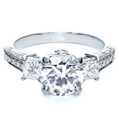 Three Stone Antique Diamond Engagement Ring