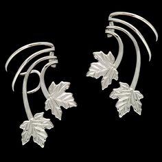Maple Leaves Short Sterling Silver Ear Cuffs Earrings A Pair [4-ML-SS-PR] - $52.00 : Ear Cuff Earring Wrap Jewelry, Ear Cuff Ear Charms No Piercing