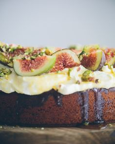Honey Cake with Mascarpone, Figs and Pistachios //  cake crumbs & beach sand