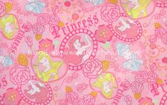 gz014/1804 - 30cm x 90cm - Cotton Fabric - Disney Cartoon Characters, Disney Princess Portrait and Rose - Pink...$4.00