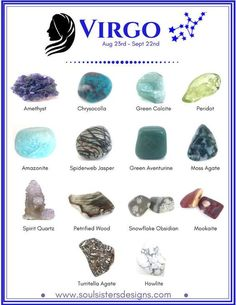 Healing Crystals associated with each of the 12 Houses of the Zodiac compiled into individual graphics to make learning your Zodiac's crystals easy!