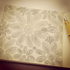 """When in doubt, doodle. A flower doodle by suzi poland for November's """"Come Draw with Me"""" prompt. http://instagram.com/p/gpAdQOAzkk/"""