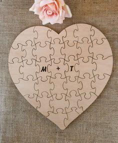 Wedding Guestbook Puzzle Reception Decor Guest Book Alternative Heart Wood Puzzles - 80 pieces. $149.90, via Etsy.