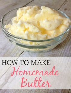Save money and make your own butter. It only takes one ingredient and a few minutes. The kids will love helping out with this fun activity.(Homemade Butter For Kids) Vegetarian Recipes, Cooking Recipes, Healthy Recipes, Cooking Tips, Frugal, Great Recipes, Favorite Recipes, Recipe Ideas, Amazing Recipes