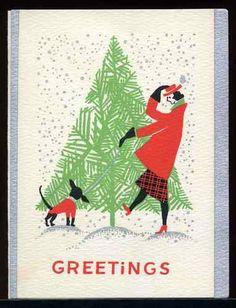 Vintage Art Deco Christmas Card Woman Walking Dog on Blustery Day. Christmas Past, Retro Christmas, Vintage Christmas Cards, Christmas Images, A Christmas Story, Vintage Holiday, Christmas Greeting Cards, Christmas Greetings, Holiday Cards