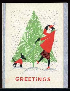 Vintage Art Deco Christmas Card ~ woman taking her dog for a walk on a blustery day.