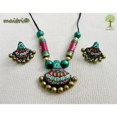 Terracotta Jewellery  -  Green Red Traditional  www.facebook.com/maitri.crafts.maitri maitri_crafts@yahoo.com