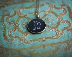 Yoga Necklace  Yoga Jewelry  Glossy Resin Charm by CabinCastle, $18.00