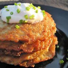 "These ""yummy"" German Potato Pancakes are ""just like Grandma used to make. No one makes potato pancakes like my grandma! Good Food, Yummy Food, Tasty, German Potato Pancakes, German Potatoe Pancake Recipe, Grated Potato Pancakes, Polish Potato Pancakes, Crispy Breakfast Potatoes, Pancake"