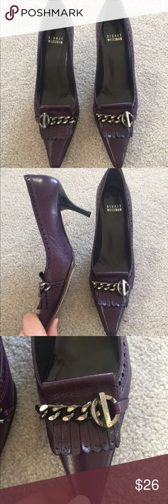 Stuart Weitzman purple leather heels Stuart Weitzman purple pointy toe heels with fringe leather and chain detailing. There is some wear to the heel and tarnishing of the chain. Otherwise they are in very good condition! #sw #stuartweitzman #purple #shoefie #leather #chain #heels Stuart Weitzman Shoes Heels