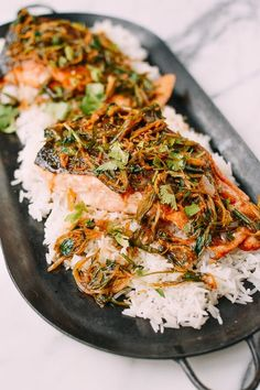 New Year Menu - the shortcut - Crispy Scallion Ginger Salmon by Salmon Recipes, Fish Recipes, Seafood Recipes, Asian Recipes, Dinner Recipes, Cooking Recipes, Healthy Recipes, Ethnic Recipes, Chinese Recipes