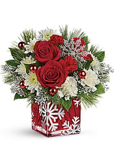 Order Teleflora's Silver Christmas Bouquet Silver Christmas Bouquet from Villere's Florist, your local Metairie florist. Send Teleflora's Silver Christmas Bouquet Silver Christmas Bouquet for fresh and fast flower delivery throughout Metairie, LA area. Christmas Flower Arrangements, Christmas Flowers, Silver Christmas, Christmas Snowflakes, Christmas Centerpieces, Floral Arrangements, Christmas Wreaths, Christmas Decorations, Christmas Flower Delivery