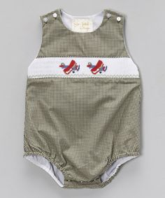 Loving this Gray Gingham Airplane Smocked Bubble Bodysuit - Infant on #zulily! #zulilyfinds