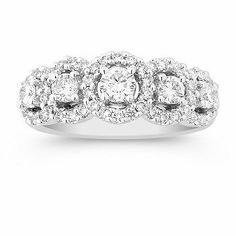 Round Diamond Ring. This unique design will look fabulous with that little black dress. This diamond fashion ring is made up of 55 round diamonds, at approximately 1.00 carat total weight and is set in 14 karat white gold. Each diamond has been hand-selected for brilliance and sparkle. #ShaneCoLBD