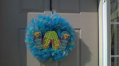 Hey, I found this really awesome Etsy listing at https://www.etsy.com/listing/235219619/flip-flop-summer-tulle-wreath
