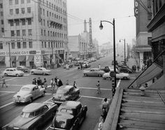 The Pantages -- It's 1956 and we're looking east through Hollywood Vine toward the Pantages. It's a photo on Vintage Los Angeles from the Bobby Cole collection California History, Vintage California, California Dreamin', Los Angeles Hollywood, Old Hollywood, Chicano, Emotional Pictures, San Luis Obispo County, Bunker Hill