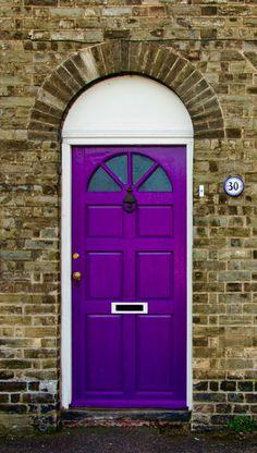 Strong color door in St. Cool Doors, Unique Doors, Stairs Window, Doorway, Door Entryway, Entrance Doors, Behind The Green Door, Purple Door, Door Detail