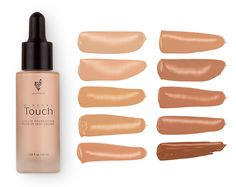 Touch Liquid Foundation. This smooth foundation goes on liquid and dries to a soft, powdery finish while optical diffusers blur imperfections and minimize wrinkles and pores. No touch-ups necessary.