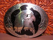 Awesome EAGLE HEAD Hand Engraved Made in Oklahoma Cowboy Belt Buckle MAKE OFFER $145.00 or Best Offer Free shipping Item image