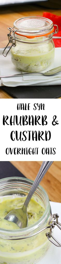 Low Syn Rhubarb and Custard Overnight Oats Slimming World Breakfast, Slimming World Diet, Slimming Eats, Slimming World Overnight Oats, Slimming World Recipes, Pinch Of Nom, Rhubarb And Custard, Processed Sugar, Rhubarb Recipes