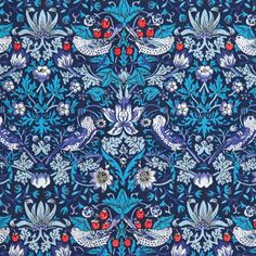 Fabric Designs Classic Tana Lawn Fabric Collection - Strawberry Thief in Blue by Liberty Art Fabrics - Liberty Art Fabrics, Liberty Of London Fabric, Liberty Print, William Morris, Textures Patterns, Print Patterns, Fun Patterns, Lawn Fabric, Cotton Fabric