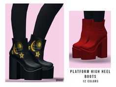 Platform High Heels, Platform Boots, High Heel Boots, Heeled Boots, Sims Four, Sims 4 Mm Cc, Maxis, Sims 4 Mods Clothes, Sims 4 Clothing