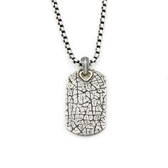 "David Yurman Textured Tag Pendant Necklace in Sterling Silver and 18k Gold 22"" #DavidYurman #Pendant"